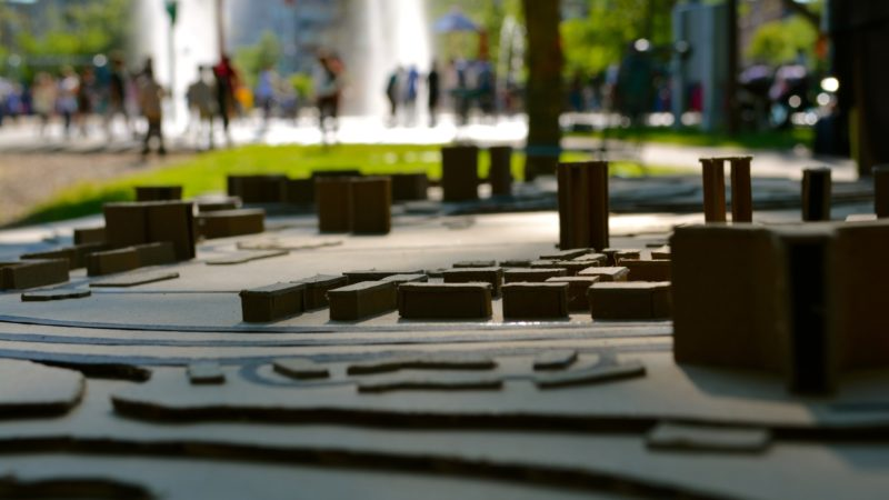 A small scale model of the neighbourhood set up in a park